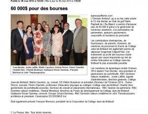 Omnium Brebeuf 2014 - 60000$ pour des Bourses
